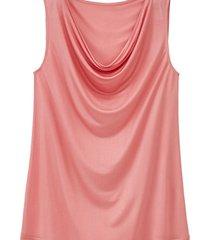 top met watervalhals uit biologische zijde, roze 44