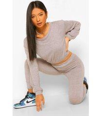 petite elastische gebreide sweater, grey