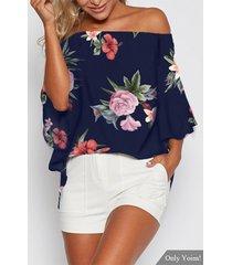 blusa con estampado floral al azar azul marino fuera del hombro