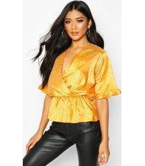 leopard satin ruffle wrap over peplum blouse, mustard