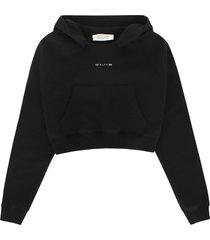 1017 alyx 9sm black cotton cropped hoodie