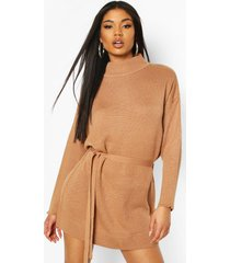 knitted belted dress, camel