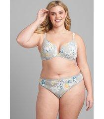 lane bryant women's cotton boost plunge bra 42c heather grey parisian floral