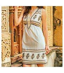 beaded cotton dress, 'golden magic' (india)