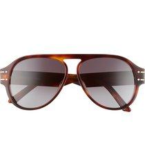 dior 58mm pilot sunglasses in blonde havana /gradient smoke at nordstrom
