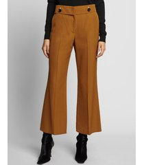 proenza schouler viscose silk crop flare pants /brown 6