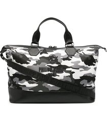 philipp plein logo-embossed rubberised camouflage tote - black