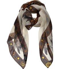 victoria horse silk chiffon scarf - one tan