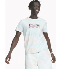 tommy hilfiger men's essential pastel logo t-shirt blue/orange tie dye - l