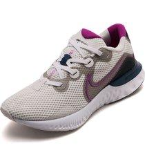 tenis running blanco-violeta-negro nike renew run