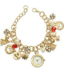 holiday lane gold-tone charm bracelet watch 25mm, created for macy's