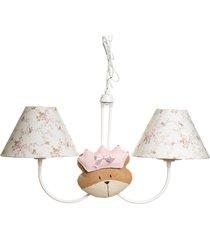 lustre 2l simples com 2 caras de ursa princesa quarto menina potinho de mel rosa - rosa - menina - dafiti
