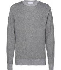 sweater cotton silk c-neck gris calvin klein