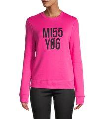 redvalentino women's miss you jersey sweatshirt - magenta - size l