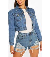 petite puff sleeve jean jacket, mid blue