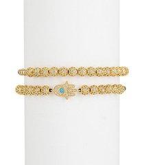 connor hamsa yellow goldtone, titanium & cubic zirconia bead bracelet