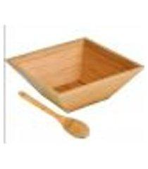 kit saladeira de bambu welf cj00293 quadrado 02 peças