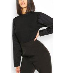 cotton mix volume sleeve ruffle neck blouse, black