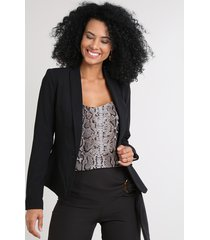 blazer feminino acinturado texturizado preto