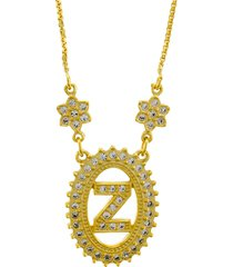 colar horus import letra z zircônias dourado