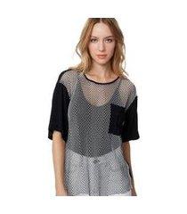 blusa t- shirt tela preto/ off white - 36