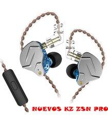 audífonos kz® zsn pro monitores in ear alta fidelidad micrófono - azul