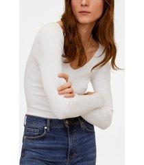 mango v-neck ribbed knit sweater