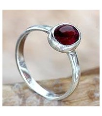 garnet single stone ring, 'love's fire' (indonesia)
