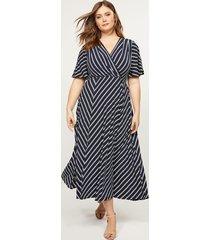 lane bryant women's striped faux-wrap midi dress 18/20 navy & white stripe