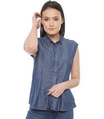 blusa tommy hilfiger azul - calce regular