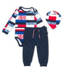 tommy hilfiger junior conjunto de babador, calça e macacão color block - azul