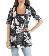 24seven comfort apparel botanical print elbow sleeve swing top