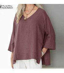 zanzea mujeres batwing casual cuello en v camisa de la blusa asimétrica tapas de gran tamaño plus -rojo
