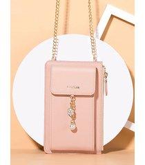 billetera con adornos de flores y perlas con cadena