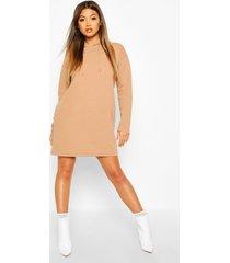 hooded rib sweatshirt dress, camel