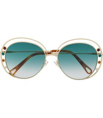 chloé eyewear two-tone round-frame sunglasses - gold