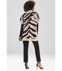 natori le tigre-angkor poncho sweater topper jacket, women's, silk, size xs