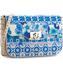 bolsa tiracolo desigual estampada azul/bege