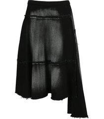 marni draped denim skirt