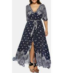 plus size plunge tribal print high slit dress