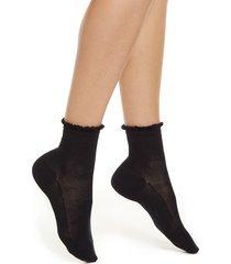 women's falke basketwork ankle socks, size 41-42 - black