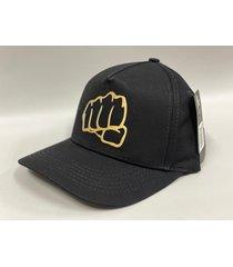 gorra clasica negra estampado dorado fist