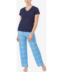women's v-neck short sleeve pajama top with long printed pant