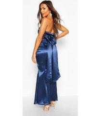 petite satijnen maxi jurk voor de gelegenheid met strik, marineblauw