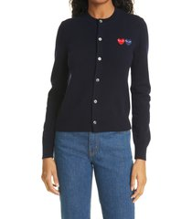 women's comme des garcons play wool cardigan, size x-small - blue
