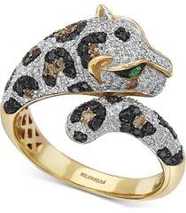 effy multi-color diamond (1-1/20 ct. t.w.) & tsavorite accent ring in 14k gold