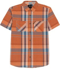 junk food men's napoleon short sleeve plaid shirt