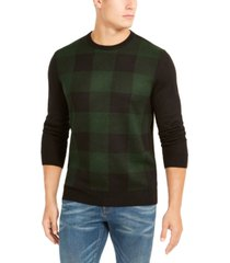 club room men's plaid merino wool blend sweater, created for macy's