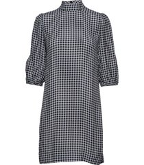 printed crepe korte jurk blauw ganni