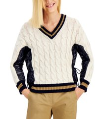 weekend max mara dalida cable-knit faux-leather sweater